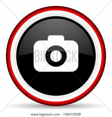 photo camera round glossy icon, modern design web element