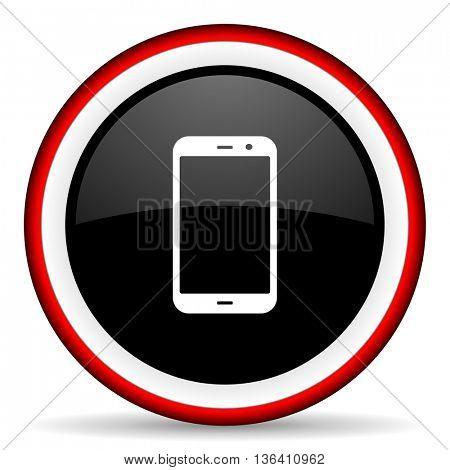 smartphone round glossy icon, modern design web element