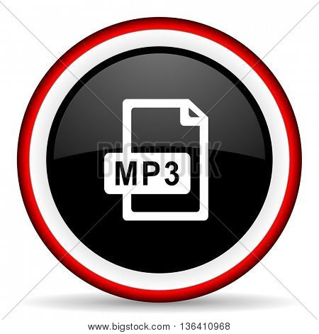 mp3 file round glossy icon, modern design web element