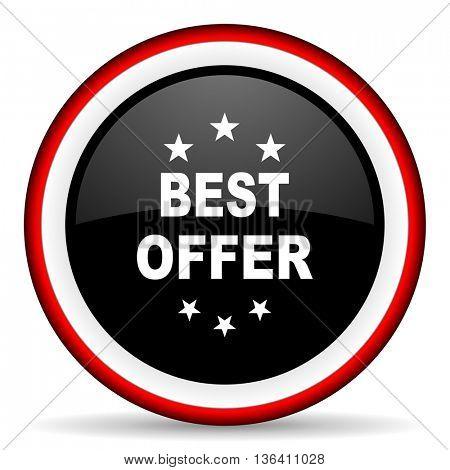 best offer round glossy icon, modern design web element