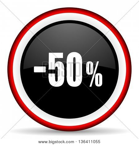 50 percent sale retail round glossy icon, modern design web element
