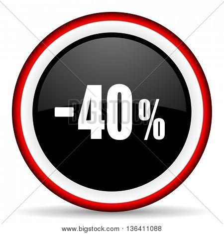 40 percent sale retail round glossy icon, modern design web element