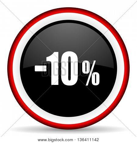 10 percent sale retail round glossy icon, modern design web element