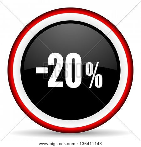 20 percent sale retail round glossy icon, modern design web element