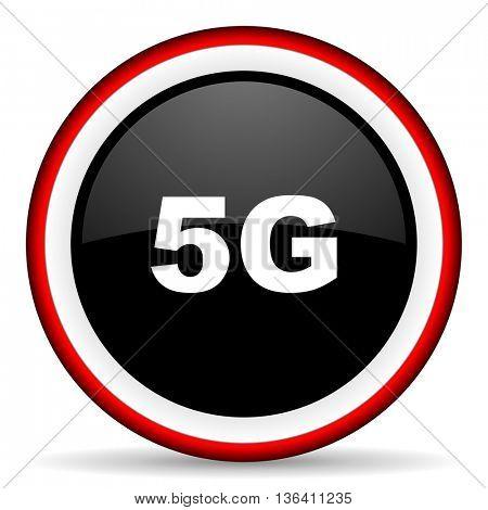 5g round glossy icon, modern design web element