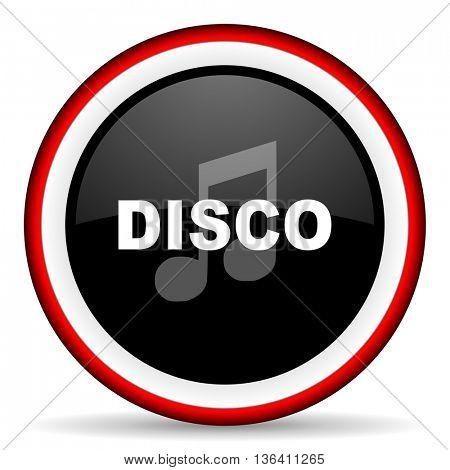 disco music round glossy icon, modern design web element