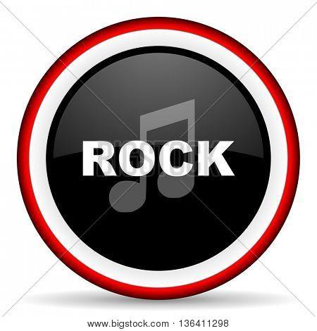 rock music round glossy icon, modern design web element