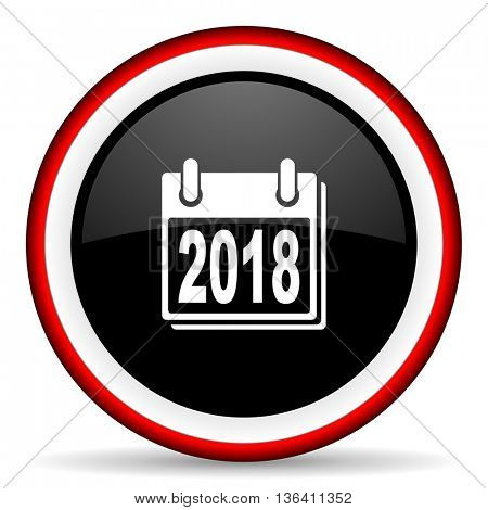 new year 2018 round glossy icon, modern design web element