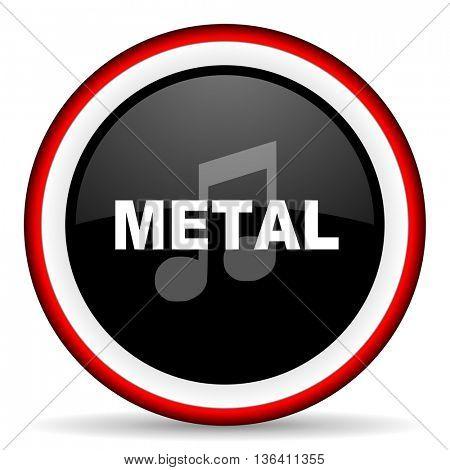 metal music round glossy icon, modern design web element