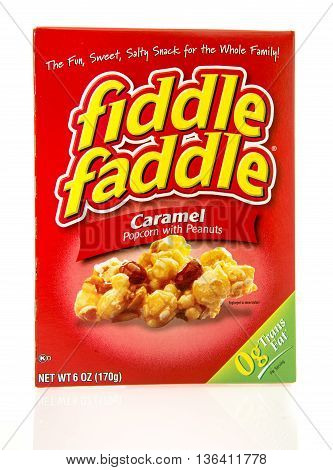 Winneconne WI - 28 June 2016: Box of fiddle faddle in caramel flavor on an isolated background
