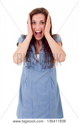Surprised young woman isolated over white background