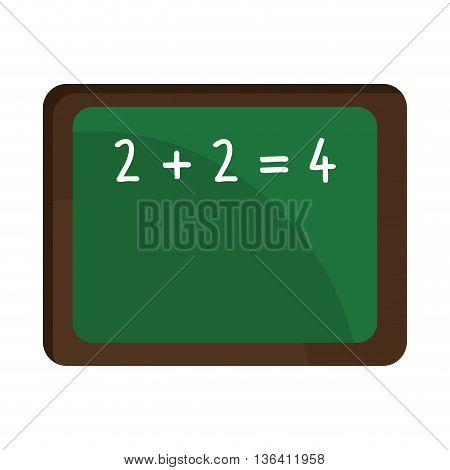 green board with brown frame and white numbers front view over isolated background, school concept, vector illustration