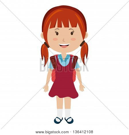 smiling school avatar little girl wearing colorful dress front view over isolated background, school concept, vector illustration