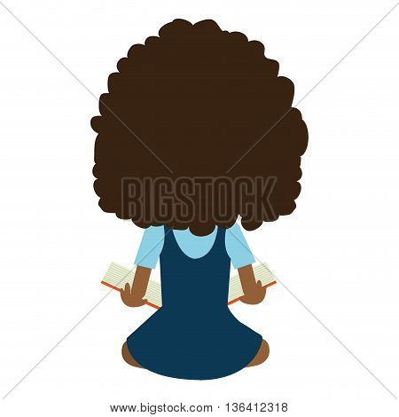 school avatar girl wearing colorful clothes while sitting back side view   over isolated background, vector illustration