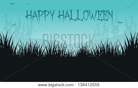 Halloween backgrounds grass of silhouette scenery vector