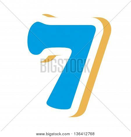 blue colorful seven number with yellow color on the right side front view over isolated background, school concept, vector illustration