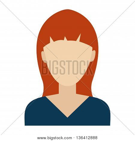 avatar woman wearing colorful shirt front view over isolated background, vector illustration