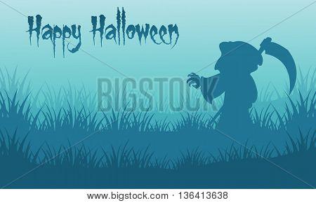Happy Halloween warlock backgrounds silhouette vector illustration