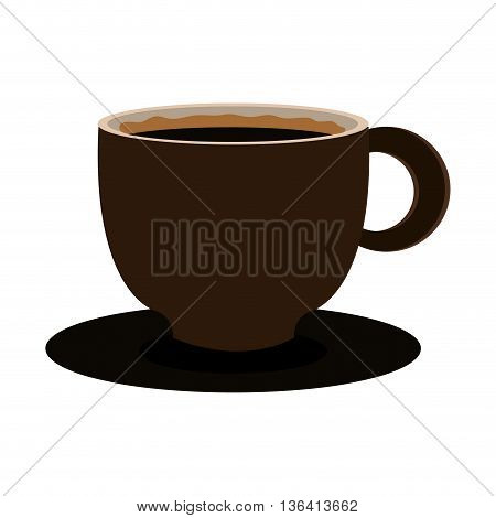 modern brown cup design with dark brown coffee front view over isolated background, vector illustration