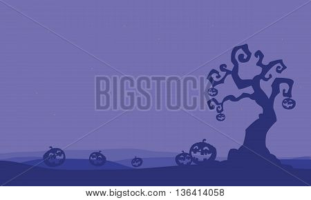 Silhouette of pumpkins and dry tree Halloween illustration