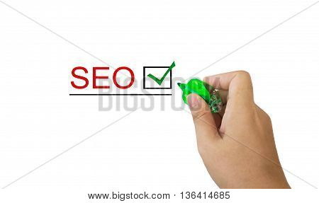 Text Seo In Red Colour With Isolated Hand And Marker Pen