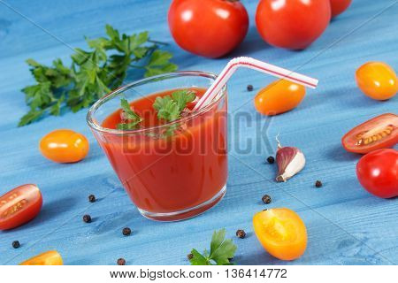 Tomato Juice And Vegetables With Spices On Blue Board, Healthy Nutrition