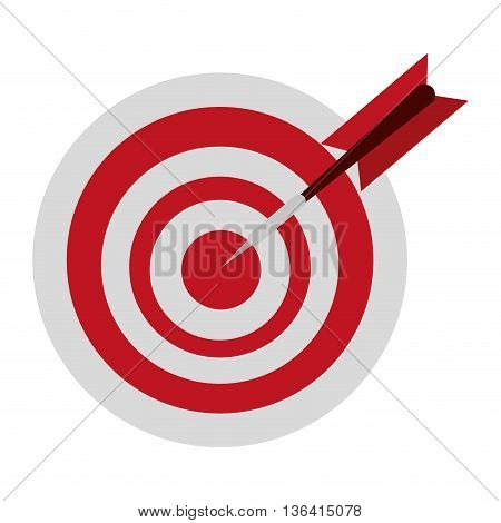 white and red  dartboard with red dart over isolated background, vector illustration