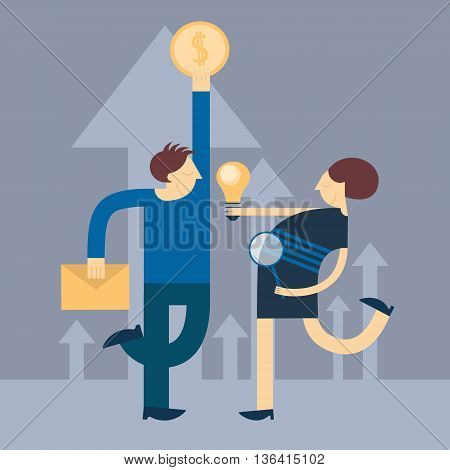 Businessman Hold Envelope Coin Business Woman With Light Bulb Arrow Up Background Flat Vector Illustration
