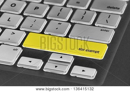 Keyboard  Button Written Word Tax Exempt