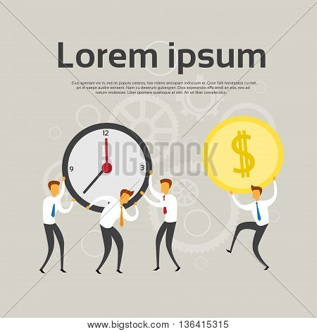Businesspeople Team Hold Clock Coin Flat Vector Illustration