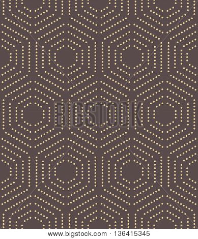 Geometric repeating vector ornament with hexagonal dotted elements. Seamless abstract modern pattern. Brown and golden pattern