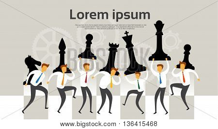 Business People Team Hold Chess Figures Strategy Concept Flat Vector Illustration