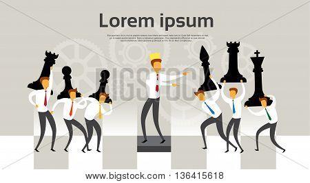 Businessman Leader King Lead Team Chess Figures Strategy, Leadership Concept Flat Vector Illustration
