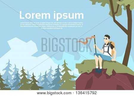 Traveler Sit On Hill Hiker With Rucksack Nature Mountain Background Vector Illustration