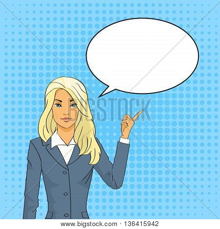 Blonde Business Woman Point Finger To Chat Bubble Pop Art Colorful Retro Style Vector Illustration