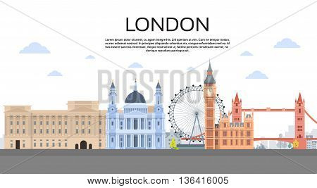 London English City View Copy Space Flat Vector Illustration