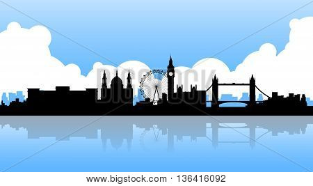 London Silhouette English City View Copy Space Flat Vector Illustration