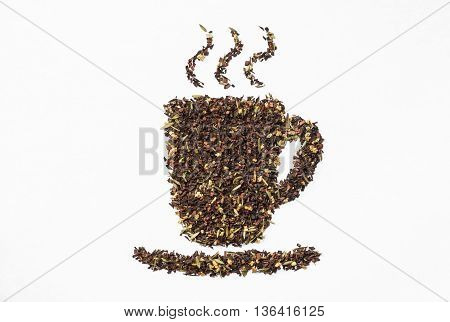 loose honeybush tea in teacup shape on white background