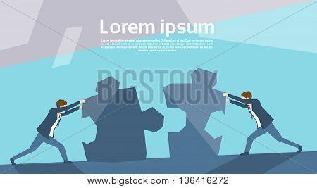 Business Man Group Push Puzzle Pieces Teamwork Concept Flat Vector Illustration