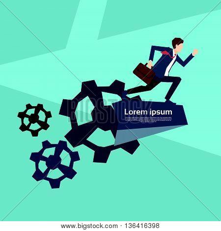 Business Man Run In Cog Wheel Development Concept Flat Vector Illustration