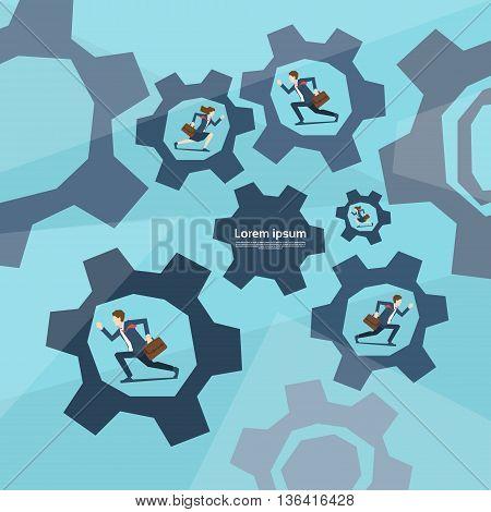 Business People Group Run In Cog Wheel Concept Teamwork Flat Vector Illustration