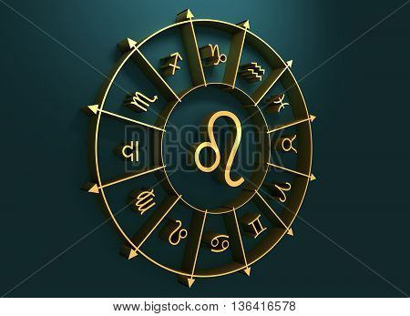 lion astrology sign. Golden astrological symbol. 3D rendering
