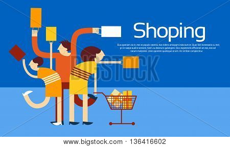 Family Shopping Bags Trolley Sale Discount Vector Illustration