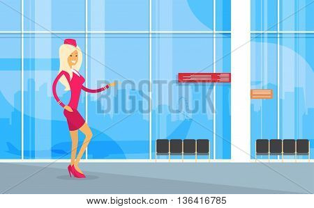 Stewardess In Uniform Open Palm To Copy Space Airport Interior Flat Vector Illustration