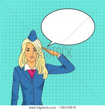 Stewardess Saluting Chat Bubble Pop Art Colorful Retro Style Vector Illustration
