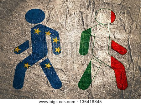 Italy exit from europe relative image. Concrete textured. Pedestrians textured by national flags