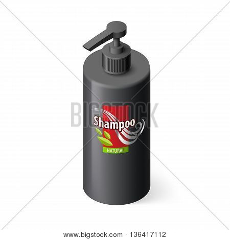 Single Black Bottle of Shampoo with Lable in Isometric Style
