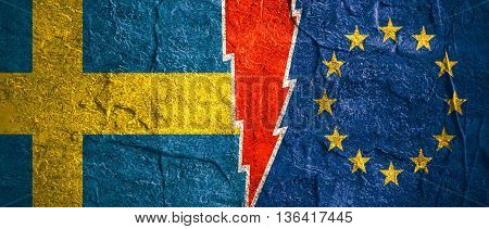Image relative to politic relationships between European Union and Sweden. National flags divided by high voltage sign. Concrete textured