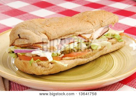 Sub Sandwich On A Plate