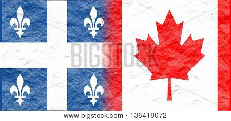 Image relative to politic relationships between Canada and Quebec. National flags textured by crumpled paper